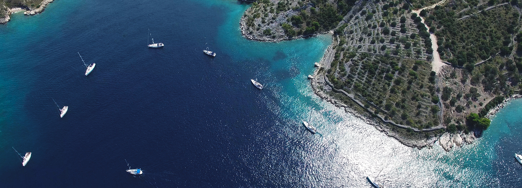 Drone footage of the yachts
